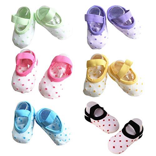 Karrychen - Calcetines Antideslizantes para bebés y niños pequeños, Estilo Ballet, para bebés de 9 a 32 Meses, 6 Pares