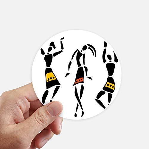 DIYthinker Autochtone Noir Totems Primitive Afrique Danse Autocollants 10CM Mur Valise pour Ordinateur Portable Motobike Decal 8Pcs diamètre 10cm Multicolor