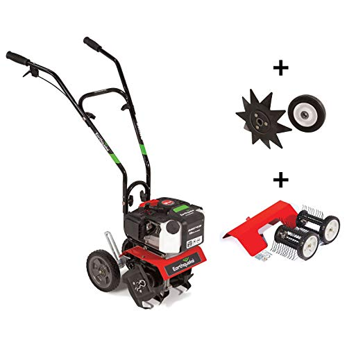 EARTHQUAKE 29769 MC43 Cultivator Combo with Edger & Dethatcher, 43cc Viper Engine, Gear Drive Transmission, Overhand Controls, Adjustable Transport Wheels, Multiple Tilling Widths, Included Attachment