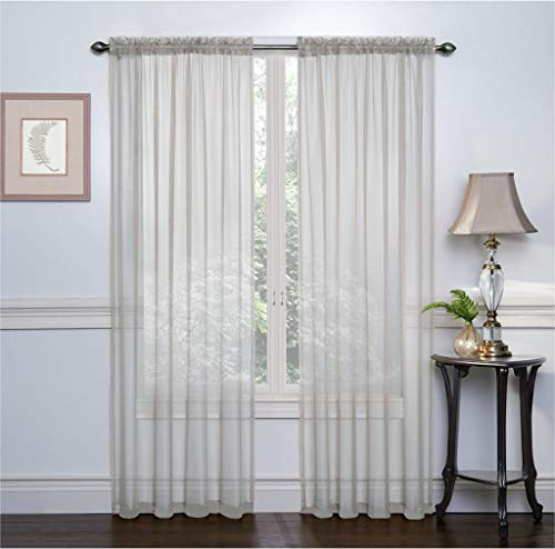 Ruthy's Textile 2 Pack Sheer Voile Window Treatment Rod Pocket Curtain Panels for Bedroom and Living Room 54 x 84 inches Long - Color: Silver