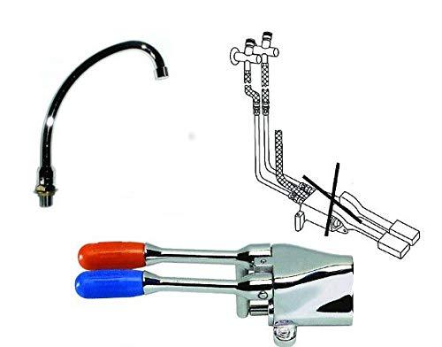 Kit rubinetto girevole + kit di montaggio + pedale acqua calda fredda per lavatoio lavello