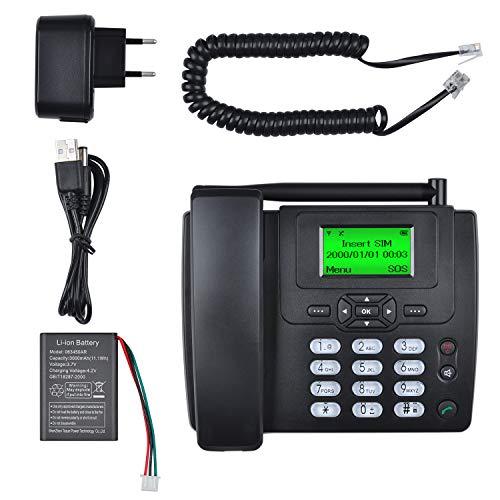 Lychee Tarjeta SIM gsm Teléfono Fijo Pare tu Empresa o Familia,Multifuncional(Identificación de Llamadas, Manos Libres,Pantalla retroiluminada,Radio, Despertador) (Negro 01)