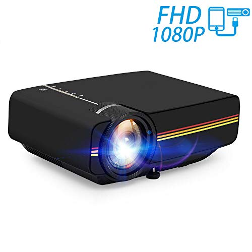 Projektor, 1800 Lux LED-Videoprojektor, tragbarer Mini-Multimedia-Projektor mit LCD-Technologie (1080P) Ideal für Heimkino-Unterhaltung,Black