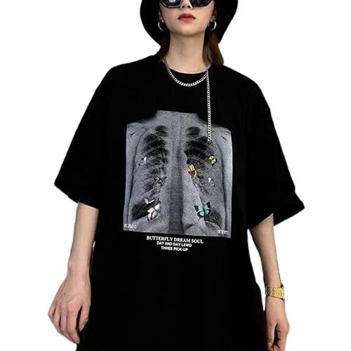Camiseta de manga corta gótica punk para mujer Y2K E-Girls 90s Goth Vintage manga corta oversize con estampado gráfico Streetwear, C # mariposa esqueleto grande negra, XL
