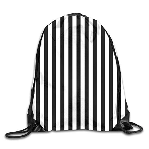 Lawenp Plegable Stripe Black White Drawstring Bag, Sports Cinch Sacks String Drawstring Backpack for Picnic Gym Sport Beach Yoga