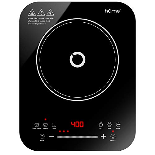 hOmeLabs Portable Induction Cooktop - Powerful Single Burner Electric Countertop Stove with Smooth Glass Surface - Features 10 Heating Levels, 6 Cook Modes, Touch Controls and Child Safety Lock