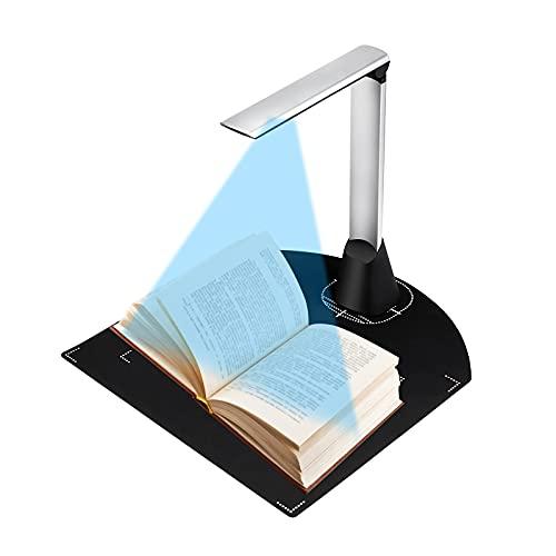 Kacsoo Escáneres De Documentos A3 Portátil, Tasa De Reconocimiento del 98% Cámara De Documentos con Micrófono Incorporado y Luz De Relleno LED, Escáner De Imagen con Ocr En Varios Idiomas, USB
