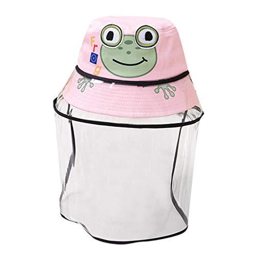 TONSEE Chapeaux De Protection pour Enfants Chapeau Anti-crachats pour Bébé Coque Amovible pour Enfants Coque Amovible Chapeau De Pêcheur (Rose,1-9ans)