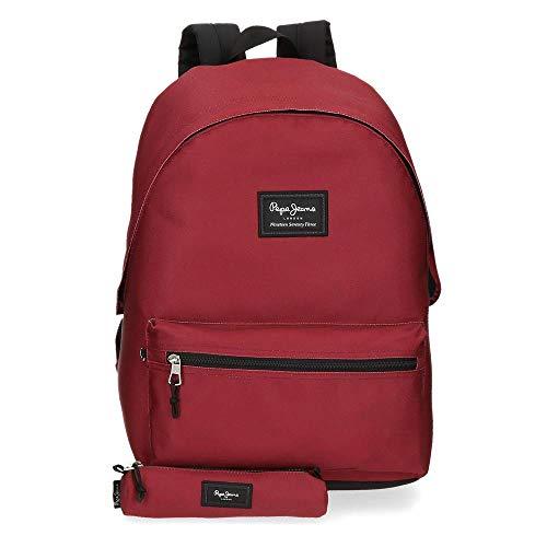 Pepe Jeans Aris Mochila para Portátil 15,6' + Estuche Escolar Rojo 31x44x17,5 cms Poliéster 23.87L