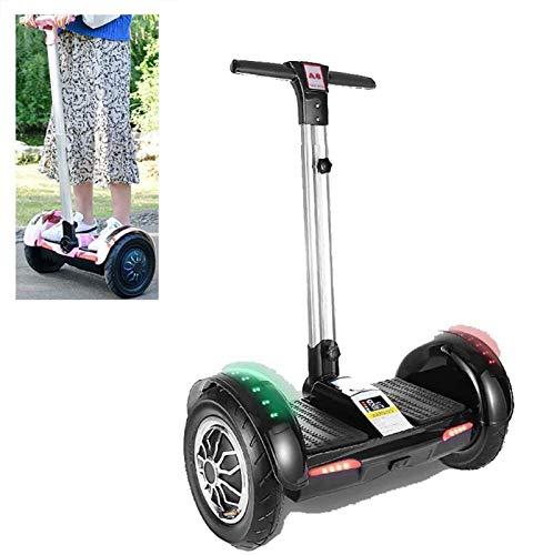 """SCYMYBH Hoverboard 10""""Smart Self Balance Scooter con Control Remoto inalámbrico y barandilla de Seguridad de Longitud Ajustable, con Altavoz Bluetooth (Color : Black)"""