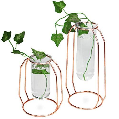 Floreros de centro de mesa de oro rosa - Juego de 2 | Decoración de flores altas y cortas | Jarrones cilíndricos transparentes minimalistas | M&W