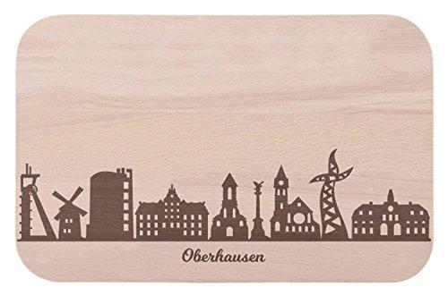 Frühstücksbrettchen Oberhausen mit Skyline Gravur - Brotzeitbrett und Geschenk für Oberhausen Stadtverliebte und Fans - perfekt auch als Souvenir