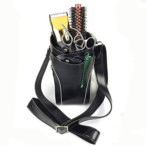 Friseurscheren Salon Tools Tasche Friseur Tasche PU Leder Mit Taille Schultergurt Schwarz