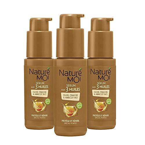 Naturé Moi – Sérum aux 3 huiles – Avec huile d'onagre, huile d'olive et huile d'abricot bio – Répare et protège les cheveux abîmés et cassés après shampooing – Lot de 3 – 50ml