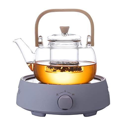 Tetera de Cristal con infusor de Acero Inoxidable, 1400 ml, Cristal de borosilicato, Tetera de para Hacer té de borosilicato y Hojas Sueltas, Tetera 1.4L