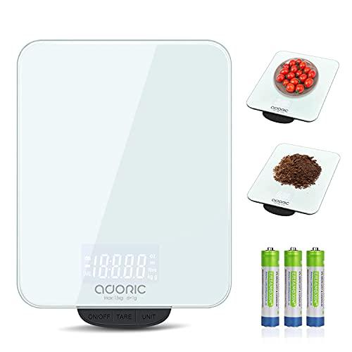 Adoric Digitalwaage küchenwaage, Max. 15KG Profil Küchenwaage mit Großer Sicherheitsglas Wiegefläche und Tara,Haushaltswagge Lebensmittelwaage(Weiß)