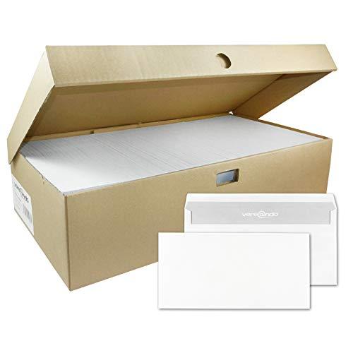 versando 1000 Briefumschläge DIN lang, 22 x 11 cm, weiß, ohne Fenster selbstklebend, Umschläge, sk