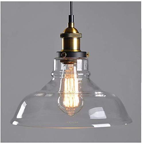 Suspension en verre transparent câble réglable Luminaire Suspension industriel pour cuisine moderne salon Vintage Rétro Abat-jour(Clair,28cm)