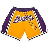 バスケットボールズボン ハーフパンツ スポーツトレーニングウェア Los Angeles Lakers ロサンゼルス レイカーズ 黄 紫 バスパン ショーパン プラクティスパンツ バスケットボール 用品 (S)