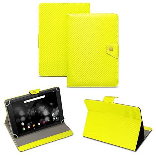 NAUC Archos 101 Platinum 3G Tablet Tasche Carbon-Design Schutzhülle Hülle Case Cover, Farben:Gelb
