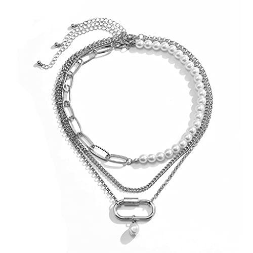 KONZFW Collar Collares de Perlas con Clip Vintage para Mujer, Cadena de Perlas de múltiples Capas de Moda, Gargantilla Hueca asimétrica, joyería