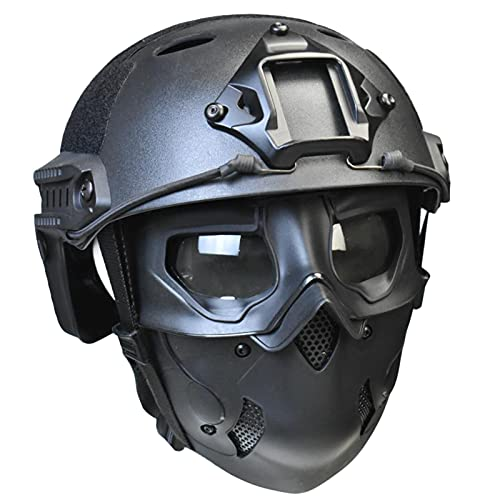 Tactical Mask wild type Cosplay Costume mask and Tactical Paintball Airsoft Fast Helmet for Airsoft Paintball Cosplay Costume Party (Black Mask+ Helmet)