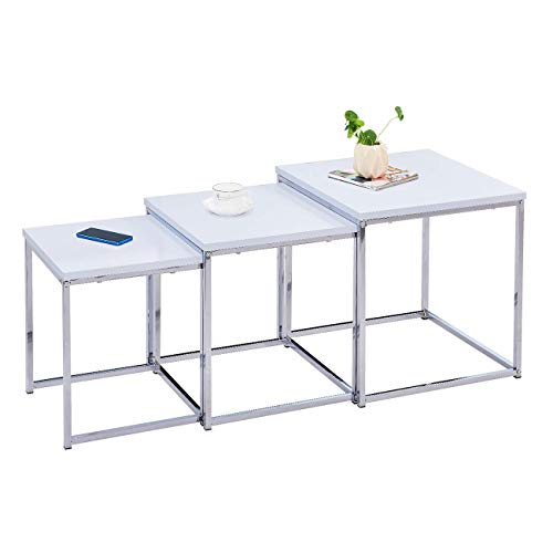 3 Nesting Tables White High Gloss Wood Nest of Table for Living Room Home Chrome Legs Rectangular Elegant Tea/Coffee/Snack Table for Small Space