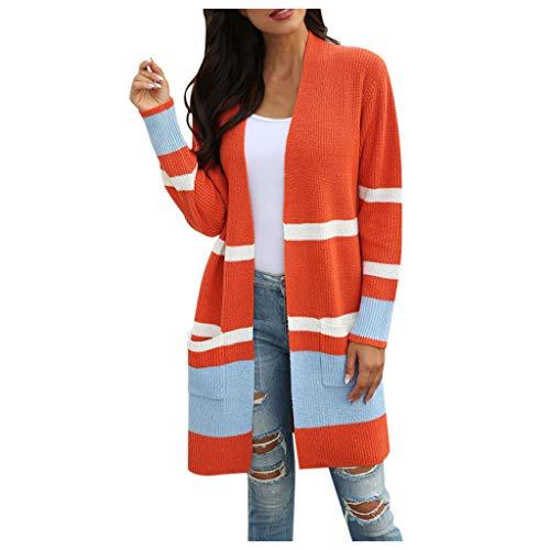 ReooLy - Cárdigan de retales Bohemio para Mujer, Manga Larga, suéteres de Punto con Frente Abierto, Bolsillos de Abrigo(D-Naranja,)