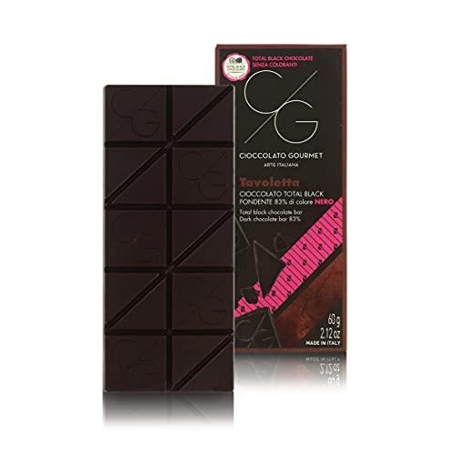 Tableta de Chocolate Gourmet, Chocolate Negro 83% Total Black, 60g