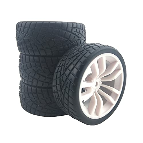 SunniMix 4X 1/10 Juego de Neumáticos RC de Rueda de Coche con Control Remoto, Neumáticos de Goma Y Llantas de Rueda Resistentes Al Desgaste - White