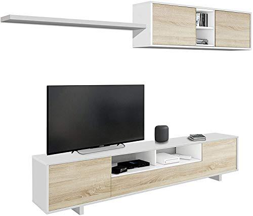 Mobelcenter - Mueble de salón Moderno Belus - Módulo TV, Módulo Superior y Estante - Color Blanco Brillo y Roble Canadian - Medidas Módulo TV: Ancho: 200 cm x Alto: 46 cm x Fondo: 41 cm - (1086)