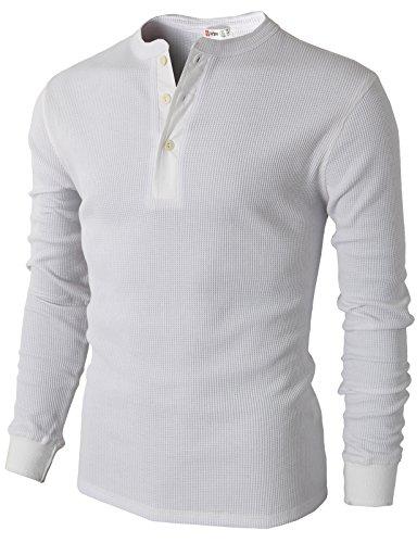 H2H Men's Raglan Baseball Tee Slim Fit Long Sleeve Casual Henley T-Shirt White US M/Asia L (CMTTL045)
