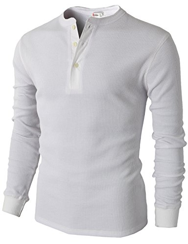 H2H Mens Casual Relaxed Fit Henley Fashoin Shirts with Button Placket White US XL/Asia 2XL (CMTTL045)