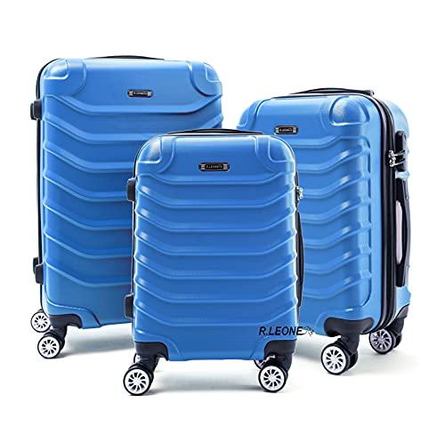 R.Leone Valigia Set 3 Trolley Rigido grande, medio e bagaglio a mano 8 ruote in ABS 2026 (Azzurro, Set da 3 pezzi)