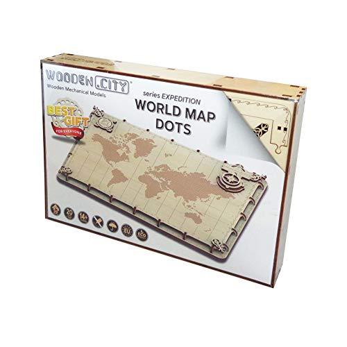 Wooden city - Puzzle de Madera - Puzzle 3D - World Map Expedition Series Dots - 40 Piezas