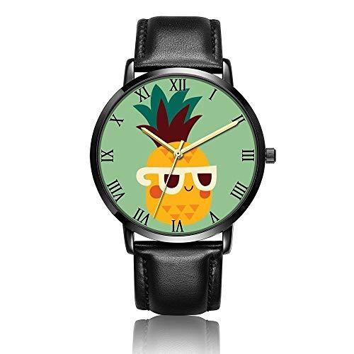 Relojes Anolog Negocio Cuarzo Cuero de PU Amable Relojes de Pulsera Wrist Watches Lindas Gafas de Sol Piña Catoon