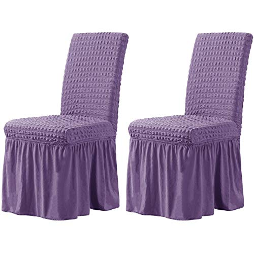 CHUN YI Stretchy Universal Easy Fitted Dining Chair Cover Slipcovers with Skirt, Removable Washable Furniture for Kids Pets Home Ceremony Banquet Wedding Party(2Pcs,Lavender)