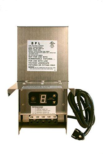 300W Watt Multi Tap 120 Volt AC to 12-15V Volt LED & Halogen - Low Voltage Landscape Lighting Indoor/Outdoor Weatherproof Transformer Power Pack w Digital Timer, Photocell Sensor - Stainless Steel