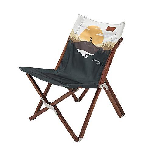 Axdwfd Liegestuhl Lounge Chair, Outdoor Klappstuhl Tragbarer Holzstuhl Strandkorb Villa Garden Massivholz Startseite Zurück Mittagspause Stuhl 49x46x68cm (Farbe : Braun)