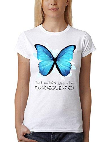clothinx Damen T-Shirt Unisex Strange Butterfly Weiß Gr. M