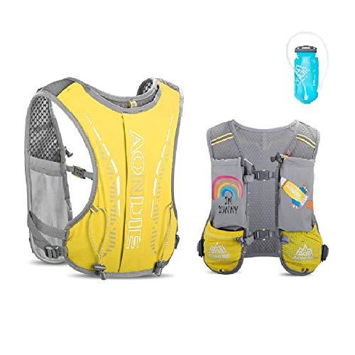 AONIJIE Kinder-Trinkrucksack, 2,5-l-Wassersack-Rucksack mit 750-ml-Trinkrucksack Wasserblase für Wanderrucksack Fahrradrucksack Klettertaschen (GELB+ Wasserblase)