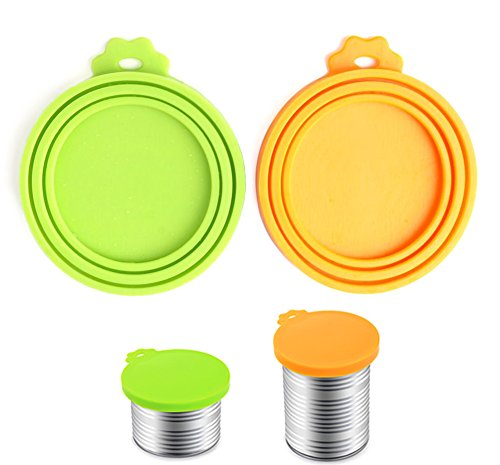 Find Discount Comtim Pet Food Can Cover/Silicone Can Lids for Dog and Cat Food, Green/Orange