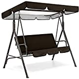 Patio Swing Canopy Replacement Cushions & Cover Set - Outdoor 3-Seater Swing Canopy Replacement Top Cover and Swing Cushion Cover,Garden Seater Sun Shade Porch Swing Hammock Protector Cover (D/Black) -  Andees-USA STOCK Swing Cushion