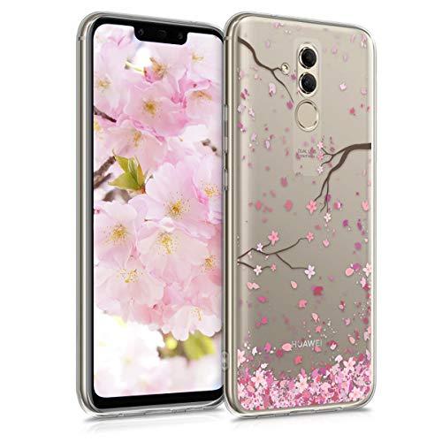 kwmobile Hülle kompatibel mit Huawei Mate 20 Lite - Hülle Silikon transparent Kirschblütenblätter Rosa Dunkelbraun Transparent