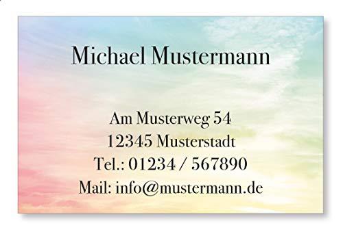 100 Visitenkarten, 350g/m Bilderdruck matt, 85 x 55 mm, inkl. Kartenspender - Design Farbige Wolken