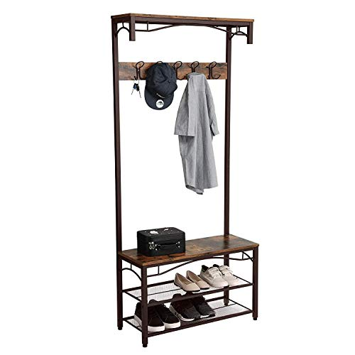HomeRoots Metal and MDF Metal Framed Coat Rack with Wooden Bench and Two Mesh Shelves, Brown and Black