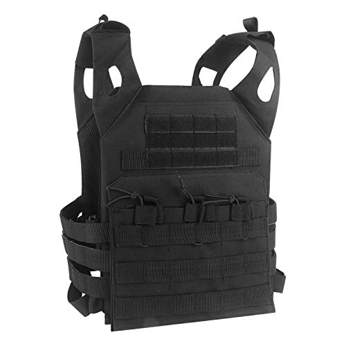 Tactical MOLLE Vest Military Airsoft Paintball Vest Breathable Adjustable CS Field Training Vest Chest Protector with Detachable EVA Protective Safety Guard (Black)