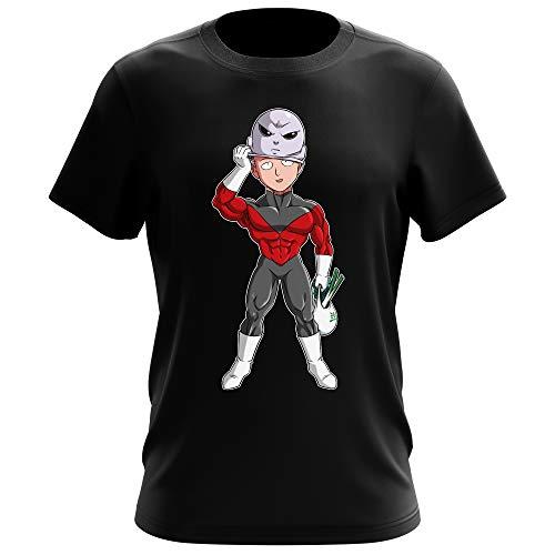 Okiwoki T-Shirt Homme Noir Parodie One-Punch Man - Dragon Ball Super - Saitama et Jiren - Le Secret du Plus Grand Guerrier de l'univers (T-Shirt de qualité Premium de Taille L - imprimé en France)
