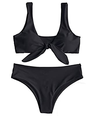 ZAFUL Women's Sexy Bikini Swimsuit Tie Knot Front Swimwear Set 2 Piece Bathing Suits Black