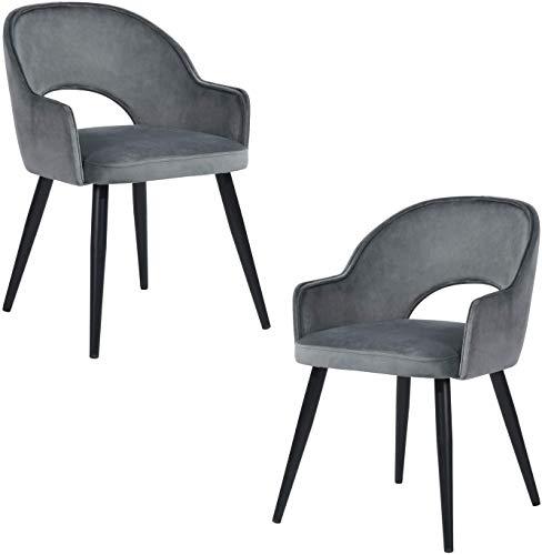 Meublele Cosy – Juego de 2 sillas de Comedor de Cocina Acolchadas de Terciopelo, sillas de Oficina con Patas de Metal Negras